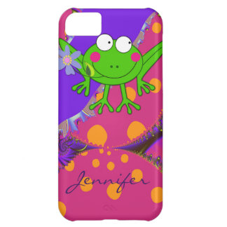 Funny Frog with Flower & custom Name Case For iPhone 5C
