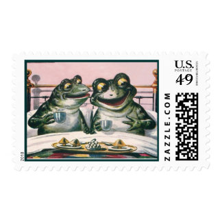 Funny Frogs in Bed; Cute Vintage Animals by Ellam Postage