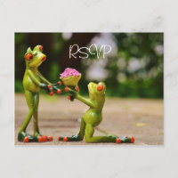 Funny Frogs Wedding RSVP with photo Invitation Postcard