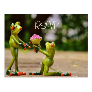 Funny Frogs Wedding RSVP with photo Postcard