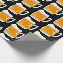 Funny frothy beer mug pattern wrapping paper