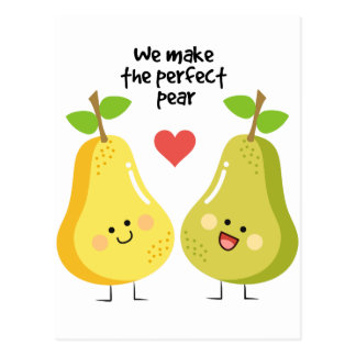 Funny fruit pun we make the perfect pear postcard