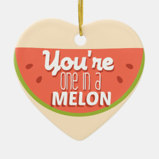 Funny fruit pun you're one in a million (melon) ceramic ornament