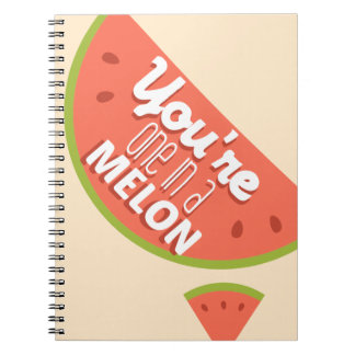 Funny fruit pun you're one in a million (melon) notebook