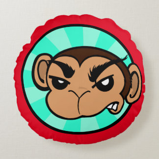 FUNNY FRUSTRATED MONKEY ROUND THROW PILLOW