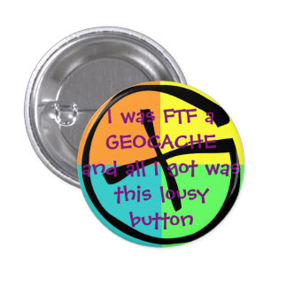 Funny FTF Geocache Award Button
