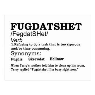 Funny Fugdatshet Defined Postcard
