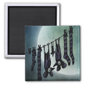 Funny Full Moon Bats 2 Inch Square Magnet