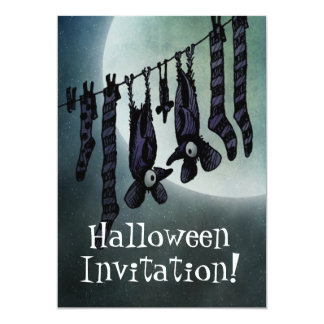 Funny Full Moon Halloween Bats Custom Card