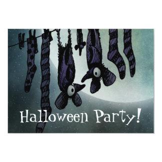Funny Full Moon Halloween Bats Custom Party Card