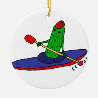 Funny Funky Kayaking Pickle Ceramic Ornament