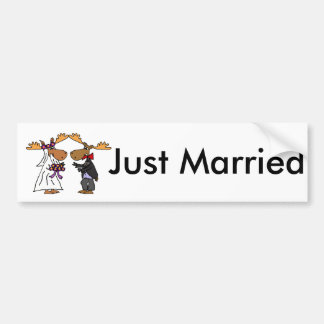 Funny Funky Moose Wedding Cartoon Art Bumper Sticker