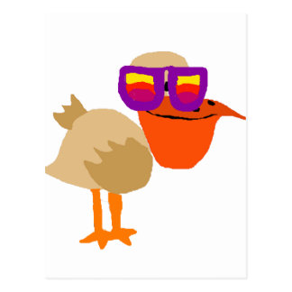 Funny Funky Pelican Wearing Sunglasses Art Postcard