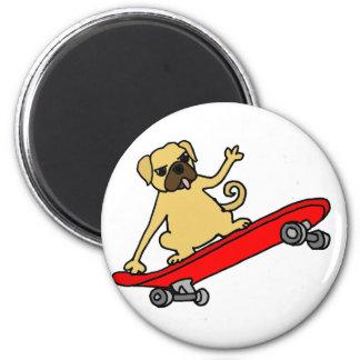 Funny Funky Pug Skateboarding Magnet