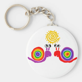 Funny Funky Rainbow Snail Love Abstract Art Keychain