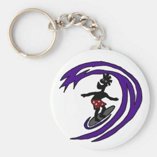Funny Funky Surfer Dude Art Basic Round Button Keychain