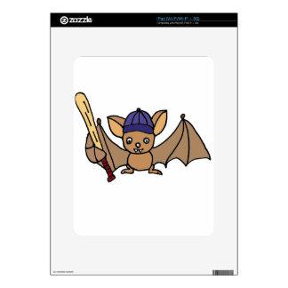 Funny Furry Bat with Baseball Bat and Cap iPad Decal