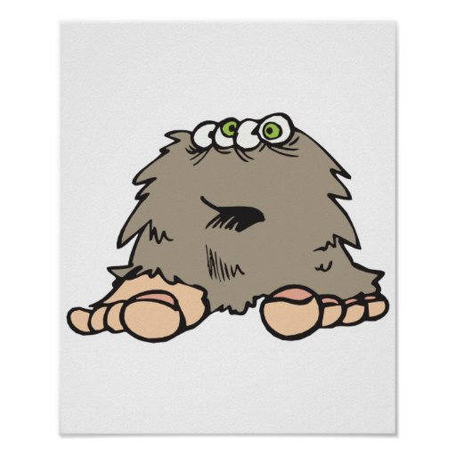 funny furry bigfoot monster poster