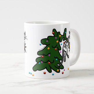 Funny Furry Christmas Catastrophe Cat Cartoon Giant Coffee Mug