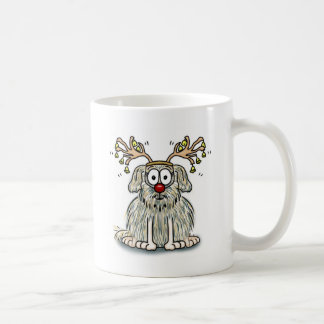 Funny Furry Whimsical Dog with Antlers & Red Nose Coffee Mug