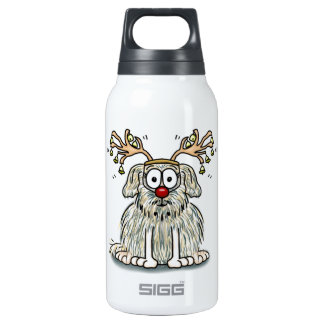 Funny Furry Whimsical Dog with Antlers & Red Nose Insulated Water Bottle