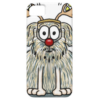 Funny Furry Whimsical Dog with Antlers & Red Nose iPhone 5 Cover