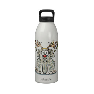 Funny Furry Whimsical Dog with Antlers & Red Nose Reusable Water Bottle