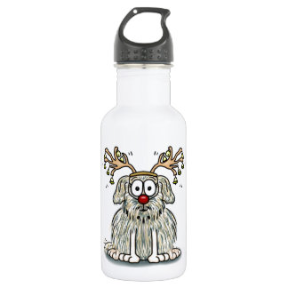 Funny Furry Whimsical Dog with Antlers & Red Nose Water Bottle