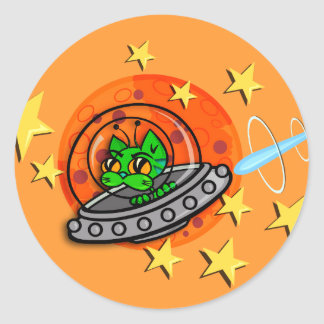 FUNNY GALACTIC ALIEN KITTY CAT STICKERS