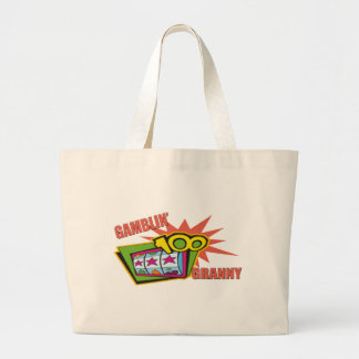 Funny Gambling Granny T-shirts Gifts Large Tote Bag