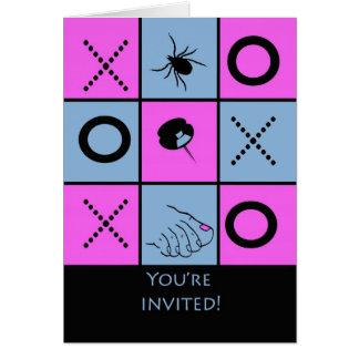 Funny Game Night Invitation, Tick Tack Toe Card