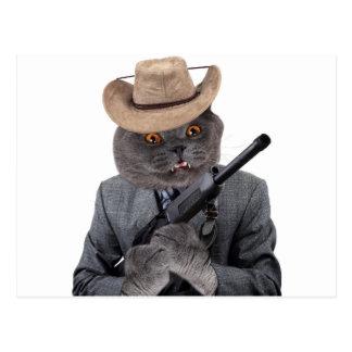 Funny gangster cat postcard