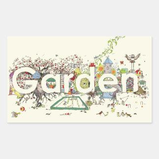 Funny Garden Word Art Colourful Painting Design Rectangular Sticker