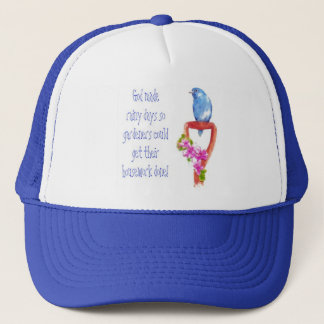 Funny Gardening Quote, Bluebird Trucker Hat