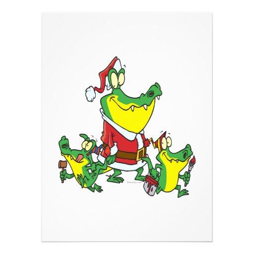 funny gator christmas santa and elves cartoon invitation