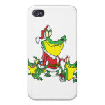 funny gator christmas santa and elves cartoon iPhone 4/4S cases