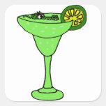 Funny Gator Swimming in Margarita Glass Square Sticker