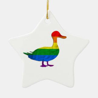 Funny Gay and Lesbian Pride Duck, Quack Quack Christmas Ornament