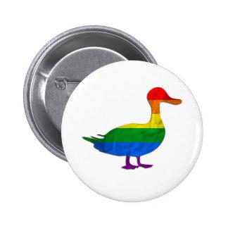 Funny Gay and Lesbian Pride Duck, Quack Quack Pinback Button