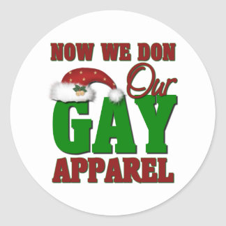Funny Gay Christmas Gift Classic Round Sticker