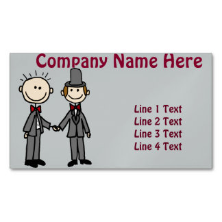Funny Gay Marriage Grooms Cartoon Magnetic Business Card