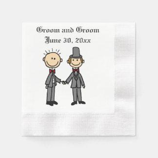 Funny Gay Marriage Grooms Cartoon Napkin
