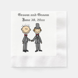 Funny Gay Marriage Grooms Cartoon Coined Cocktail Napkin