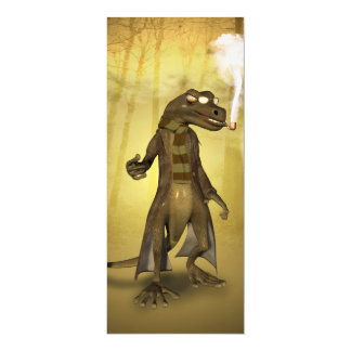Funny gecko  with pipe card