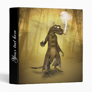 Funny gecko with sunglasses and pipe 3 ring binder