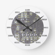 Funny Geek Binary Clock With Circuit Board Effect at Zazzle