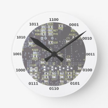 Funny Geek Binary Clock With Circuit Board Effect by DigitalDreambuilder at Zazzle