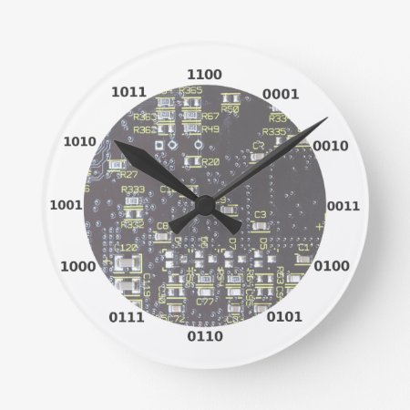 Funny Geek Binary Clock With Circuit Board Effect
