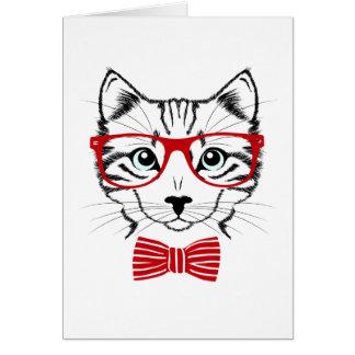 Funny Geek Bowtie Cat Pet Card