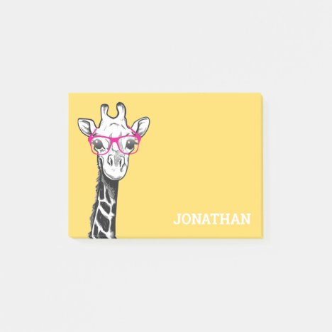 Funny Geek Giraffe Yellow Post-it Notes